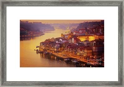Pink Sunset In Porto Framed Print