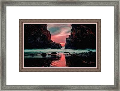 Pink Sunset On The Coast Of Cornwall L B With Alt. Decorative Ornate Printed Frame.  Framed Print by Gert J Rheeders