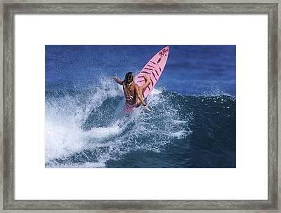 Pink Surfer. Framed Print by Sean Davey