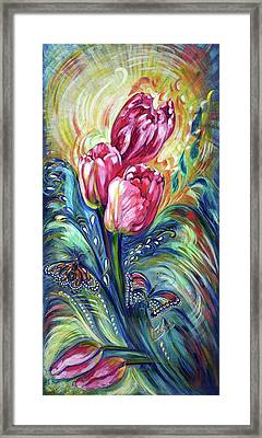 Pink Tulips And Butterflies Framed Print