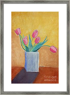 Pink Tulips Framed Print by Norma Appleton