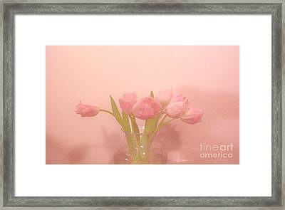 Pink Tulips On Pink Framed Print by Marsha Heiken