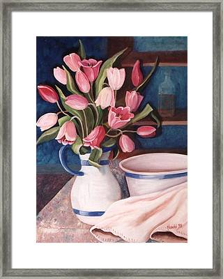 Framed Print featuring the painting Pink Tulips by Renate Nadi Wesley