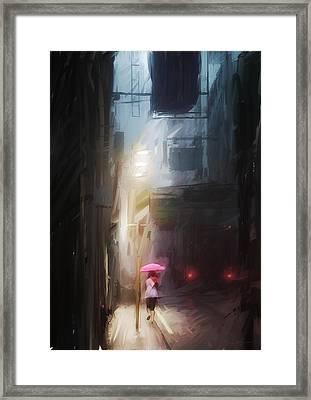 Pink Umbrella Framed Print