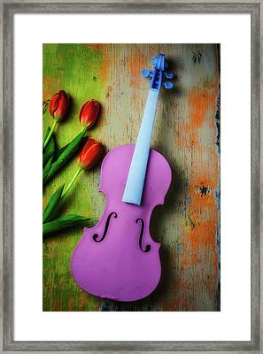 Pink Violin And Tulips Framed Print