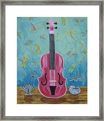 Pink Violin With Fireflies And Shells Still Life Framed Print by John Keaton