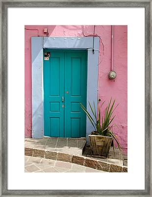 Pink Wall, Blue Door Framed Print by Rob Huntley