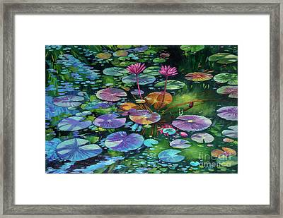 Pink Water Lilies And Lily Pads Framed Print
