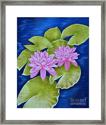 Pink Water Lilies Framed Print by Mary Deal