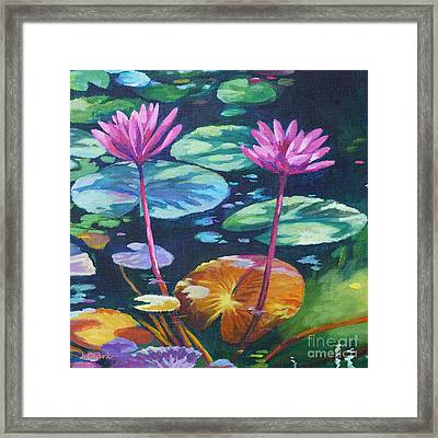 Pink Water Lilies Square Framed Print