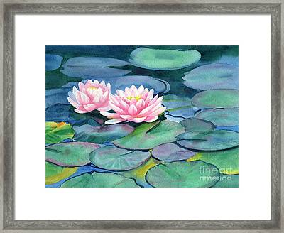Pink Water Lilies With Colorful Pads Framed Print