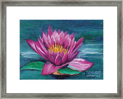 Pink Water Lily Original Painting Framed Print by Brenda Thour