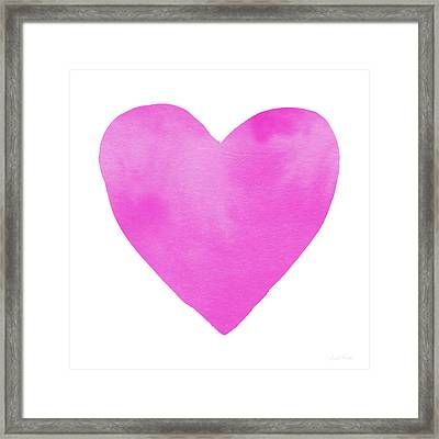 Pink Watercolor Heart- Art By Linda Woods Framed Print