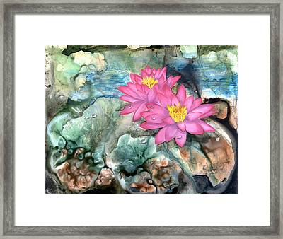 Framed Print featuring the painting Pink Waterlily by Sherry Shipley