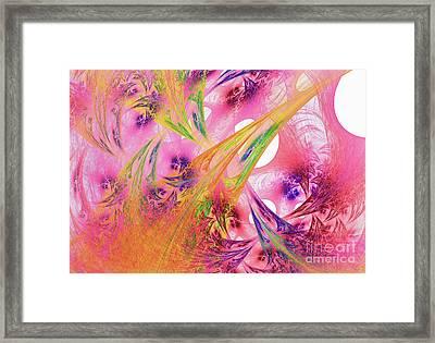 Framed Print featuring the digital art Pink Web by Deborah Benoit