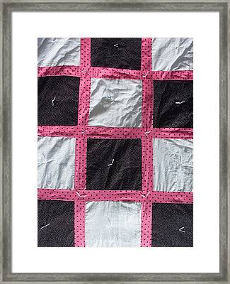 Pink White And Black Dot Quilt Framed Print by Brianna Emily Thompson