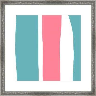 Framed Print featuring the painting Pink White Blue 2 by Bonnie Bruno