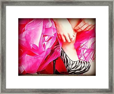 Pink Zebra Framed Print