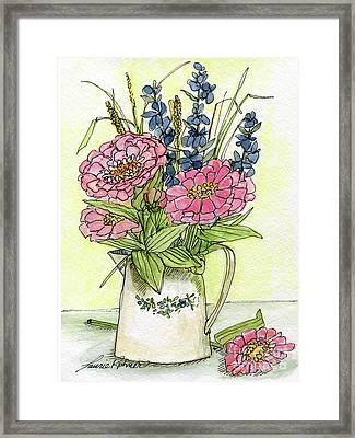 Pink Zinneas Framed Print