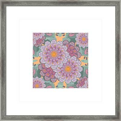 Pink Zinnia Mandala Framed Print