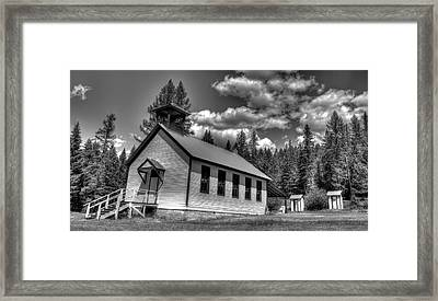 Pinkham Creek School In Black And White Framed Print by Constance Puttkemery