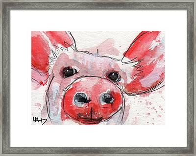 Pinky Piggy Framed Print by Heather Adams