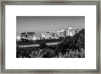 Pinnacle Hills Cityscape - Rogers - Northwest Arkansas - Black And White Framed Print