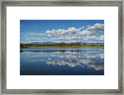 Pinon Lake Reflections Framed Print by Jason Coward