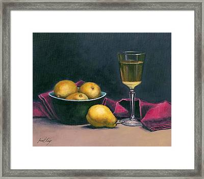 Pinot And Pears Still Life Framed Print by Janet King