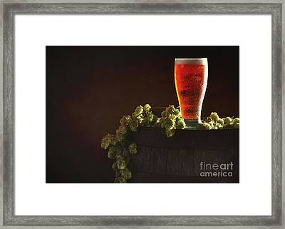 Pint Of Beer On Keg Framed Print