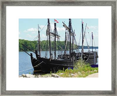 Pinta And Maria Docked Framed Print by Wild Thing
