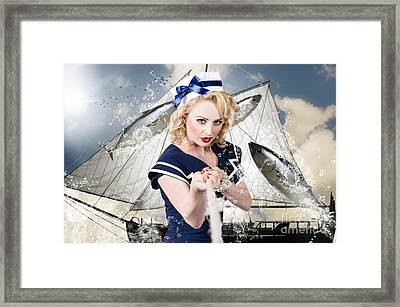 Pinup American Military Girl Pulling Sea Anchor  Framed Print by Jorgo Photography - Wall Art Gallery