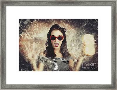 Pinup Car Wash Girl Framed Print