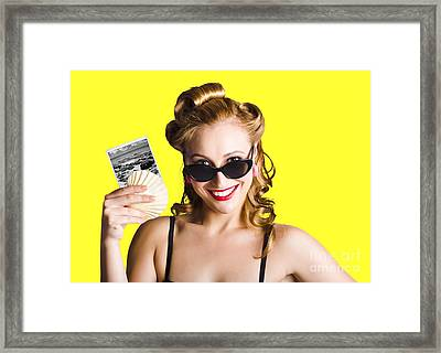 Pinup Girl Holding Sea Shell And Photo Framed Print by Jorgo Photography - Wall Art Gallery