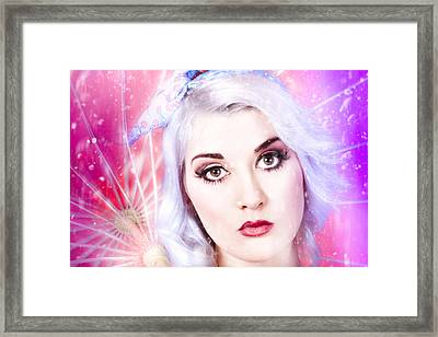Pinup Girl With Dream Make-up And Hair Style Framed Print
