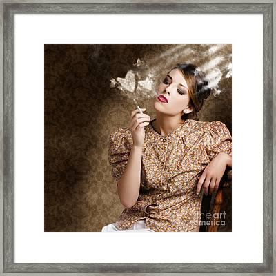 Pinup Portrait Of A Smoking Woman Blowing Hearts Framed Print
