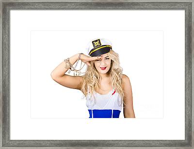 Pinup Sailor Woman Saluting In Captains Hat Framed Print