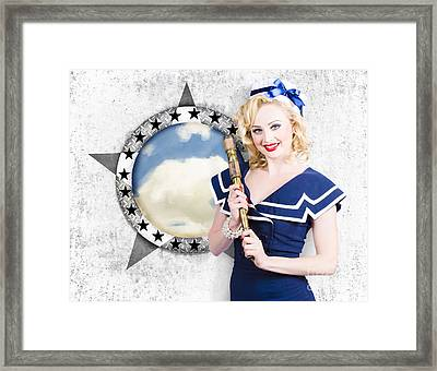 Pinup Travel Cruise. Seafaring Girl With Telescope Framed Print by Jorgo Photography - Wall Art Gallery