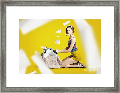 Pinup Typist Writing Story On Typewriter Framed Print