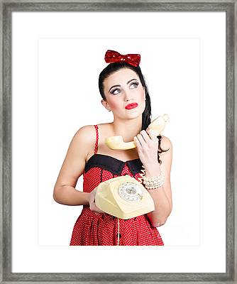 Pinup Woman Chatting On Yellow Telephone Framed Print by Jorgo Photography - Wall Art Gallery