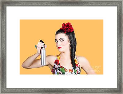 Pinup Woman Holding A Cleaning Spray Bottle Framed Print