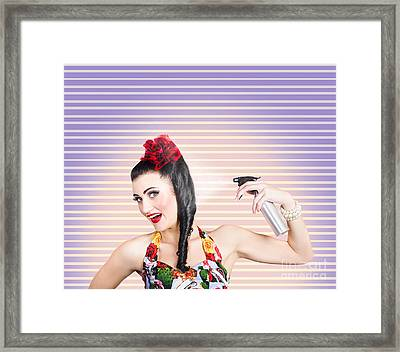Pinup Woman Styling A Hold With Hair Product Framed Print by Jorgo Photography - Wall Art Gallery