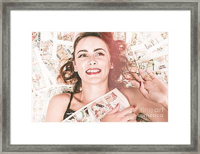 Pinup Woman With Cartoon Character Love Framed Print by Jorgo Photography - Wall Art Gallery