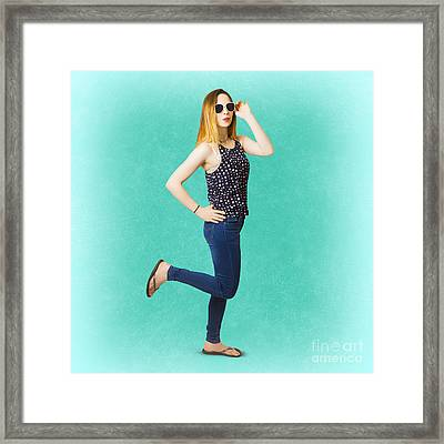 Pinup Women In Blue Jeans Framed Print by Jorgo Photography - Wall Art Gallery