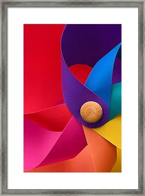 Pinwheel Macro Abstract In Neon Colors Framed Print