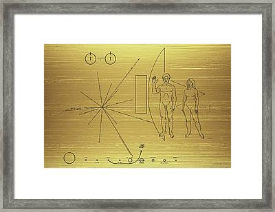 Pioneer 10-11 Golden Plaque Framed Print by Serge Averbukh