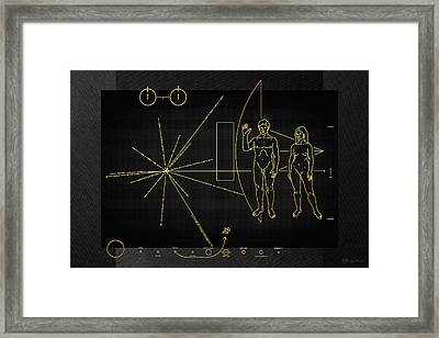 Pioneer 10-11 Plaque On Black Canvas Framed Print by Serge Averbukh