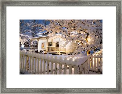 Pioneer Home At Christmas Time Framed Print by Utah Images