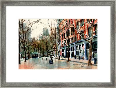 Framed Print featuring the painting Pioneer Square by Marti Green