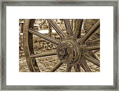 Framed Print featuring the photograph Pioneer Wagon Wheel by Marie Leslie